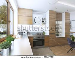 facades cuisine modern kitchen dining room contemporary style stock illustration
