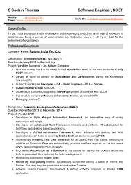 Manual Testing 1 Year Experience Resume 1 Year Experience Resume Format For Java Virtren Com