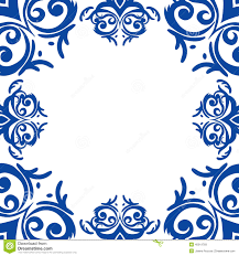 blue frame border in damask baroque style stock vector image