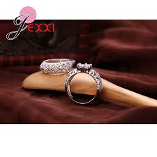 promise engagement and wedding ring set aliexpress buy jexxi cz engagement wedding ring set 925