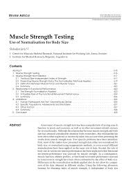 muscle strength testing use of normalization for body size pdf