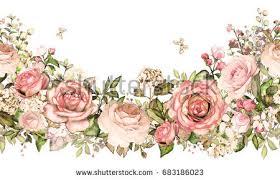 seamless pattern pink flowers leaves on stock illustration