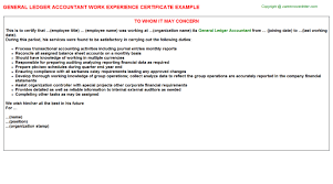 general ledger accountant work experience certificate