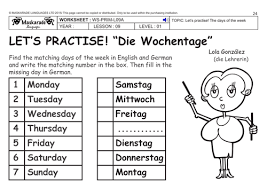 german ks2 level 1 days of the week weather by