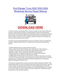 ford ranger truck 2002 2003 2004 workshop car service repair
