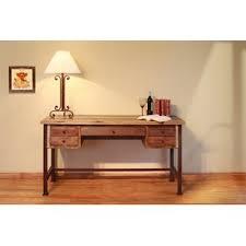 wood and metal writing desk reclaimed wood and metal desk wayfair