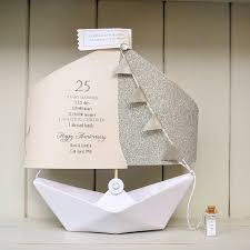 25th silver wedding anniversary paper boat card by the