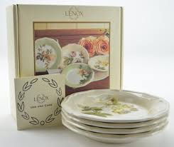 lenox accouterments dessert plates u2013 set of four floral patterns