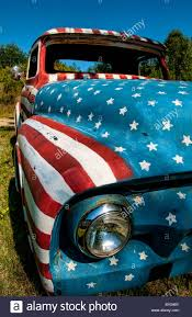 Old Ford Truck Doors - unique old ford truck paint usa flag artwork rockland maine art