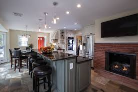 White Kitchen Island With Natural Top by Design Faux Brick With Electric Fireplace White Country Kitchen