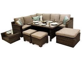 Dining Corner Sofa Rattan Furniture Set Mix Brown - Rattan furniture set