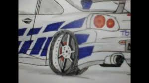 nissan skyline drawing outline 2 fast and 2 furious nissan skyline gtr drawings youtube