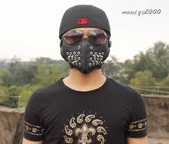 cheap motorcycle leathers metal holes studded punk biker motorcycle leather half face mask