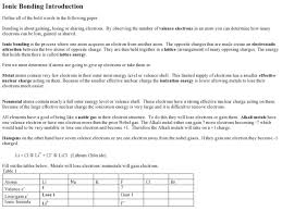 introduction to bonding worksheet answers 100 images chemical