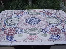 Diy Mosaic Table Handmade Broken China Mosaic Drop Leaf Table By Vintage Butterfly