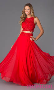 image of two piece long lace prom dress 10001 style dj 10001