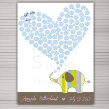diy printable baby shower guest book alternative cute elephant 80