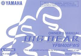 2004 yamaha yfm400fws big bear 400 atv owners manual yfm 400 fws