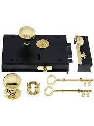 Brass Door Knobs Cast Iron Carpenter Rim Lock Set With Brass Door Knobs And