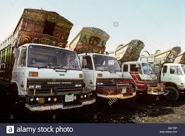 nissan pakistan pakistan transport karachi decorated trucks awaiting custom at