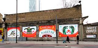 graffiti marriage proposal east london mural pops the question graffiti marriage proposal east london mural pops the question