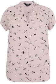 bird blouse blush pink bird print sleeved blouse with pleat detail plus