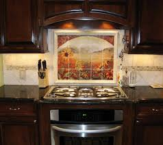 rustic kitchen backsplash tile microwave shelf cabinet tropic