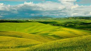 landscapes scenery hills fields tuscany nature clouds italy sky
