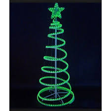Outdoor Christmas Decorations Led Tree by 6 U0027 Green Led Lighted Outdoor Spiral Rope Light Christmas Tree Yard
