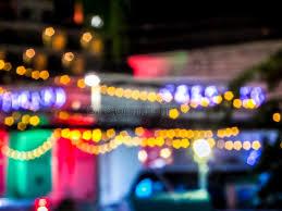 light for walking at night night light bokeh light of colorful at walking street stock photo