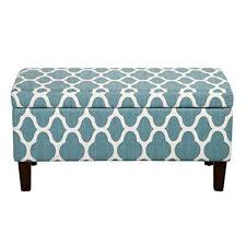 Aqua Storage Ottoman Aqua Teal And White Linen Quatrefoil Lattice Pattern Rectangle