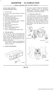 nissan 300zx 1985 z31 heather and air conditioner workshop manual