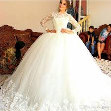 cinderella style wedding dress 2016 lace top muslim arabic wedding dresses illusion