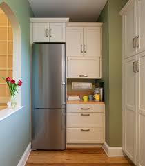 narrow long kitchen design with refrigerator corner beside small narrow long kitchen design with refrigerator corner beside small cabinet kitchen also blue painting wall including