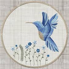 embroidered home decor fabric embroidery blue bird and flowers vector embroidery home decor