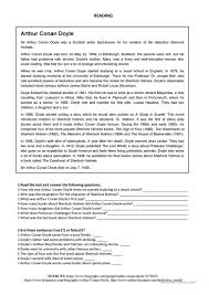 arthur conan doyle reading worksheet free esl printable