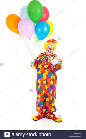 balloons clown happy birthday clown holding a bunch of balloons isolated