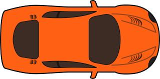 clipart orange racing car top view