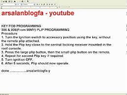 key fob programming peugeot 306 u0026 806 from 98my plip programming