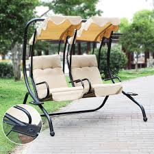 Swinging Outdoor Chairs Amazon Com Adeco Canopy Awning Porch Swings Bench Chair Outdoor
