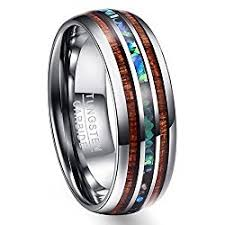 day rings unique wood and abalone shell tungsten carbide rings great