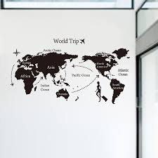 Home Decor World by Creative Home Decor World Map Atlas Wall Sticker Black Printed