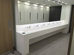 Ironwood Manufacturing Wood Veneer Restroom Partition This Image Shows Grey Back Painted Glass Clad Toilet Cubicle And