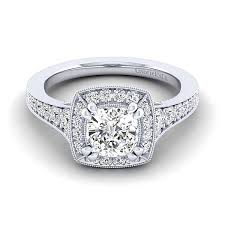 cushion diamond ring caraway 14k white gold cushion cut halo engagement ring