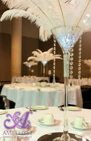 feather centerpieces white ostrich feather centerpiece with martini vase hanging