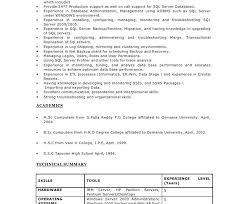 Database Administrator Resume Dba Resume Summary 100 Images Dissertation Topics In Hr
