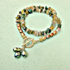 beaded necklace clasps images Beaded stone chip and gold pearl necklace with gold toggle clasp jpg