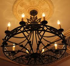hand forged signed custom wrought iron chandelier home of