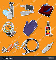 set tattoo tools set icons design stock vector 684402901