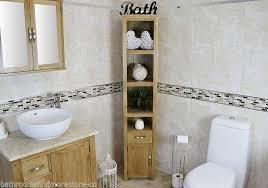oak bathroom storage unit tall cabinet cupboard with shelving no